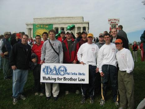 Phi Delts participate in the Washington, DC Walk to Defeat ALS.